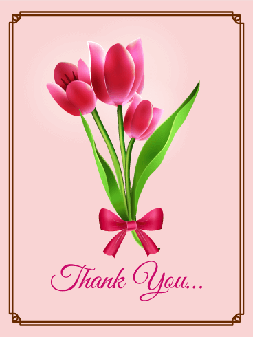 Pink Tulip Thank You Card