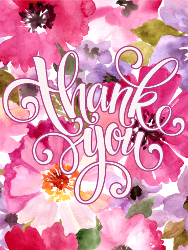 Elegant Pink Flower Thank You Card