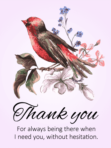 Red Little Bird Thank You Card