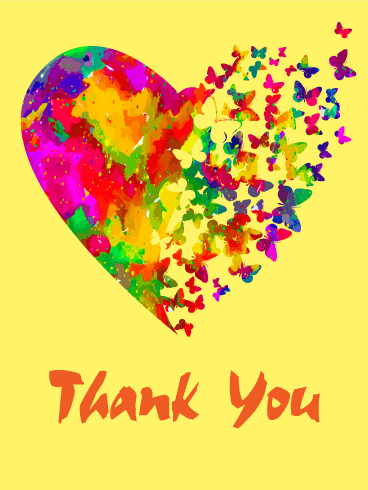 Rainbow Butterfly Thank You Card
