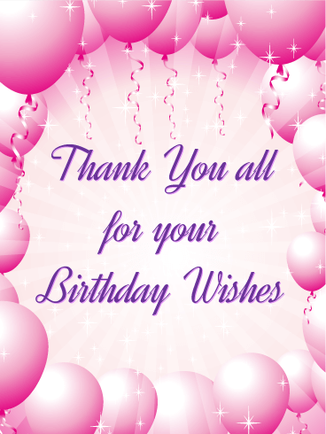 Pink Balloon Thank You Card Birthday