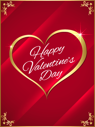 Golden Heart Happy Valentine's Day Card
