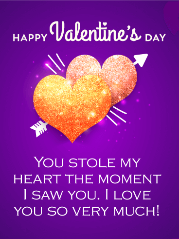 You Stole My Heart Happy Valentines Day Card For Him Birthday