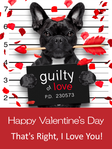 Guilty of Love - Happy Valentine's Day Card for Him