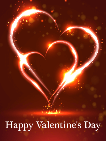 Burning Twin Heart Happy Valentine's Day Card