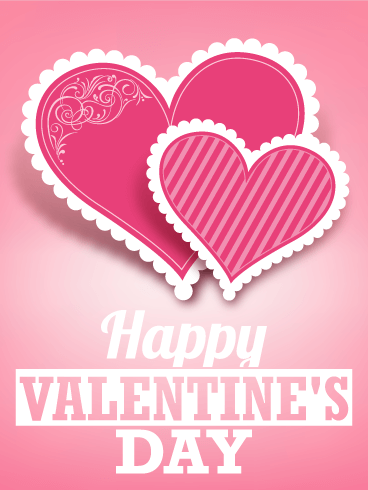 Pink Twin Heart Happy Valentine's Day Card