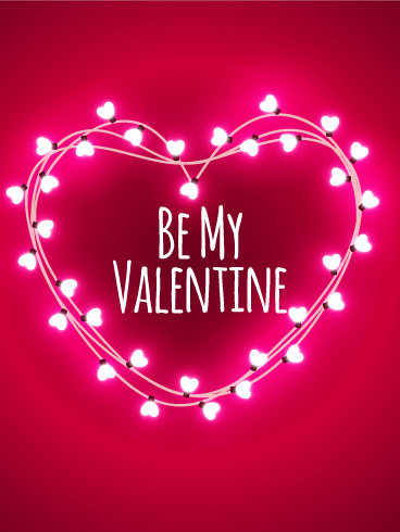 Pink Lights Happy Valentine S Day Card Birthday Greeting Cards
