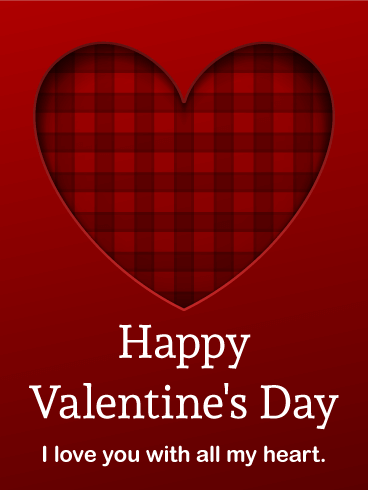 Plaid Heart Happy Valentine's Day Card