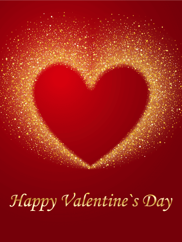 Golden Bright Heart Happy Valentine's Day Card