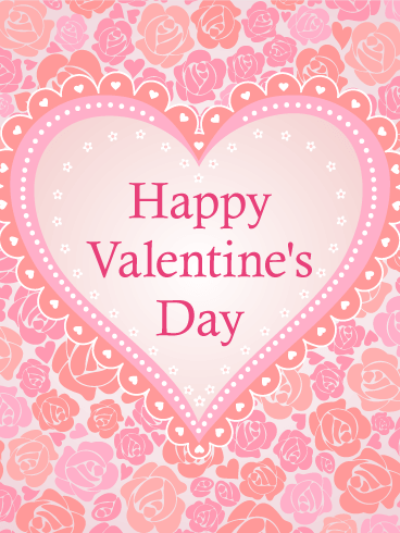 Pink Roses and Hearts happy Valentine's Day Card