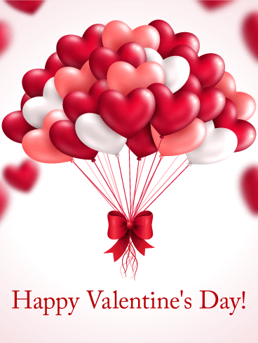 Heart Balloon Happy Valentineu0027s Day Card