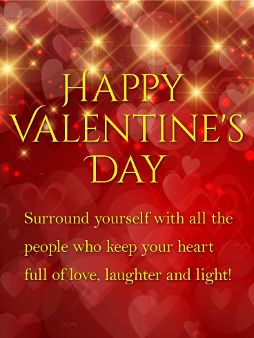 Laughter And Light Shining Happy Valentines Day Card Birthday