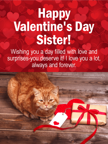 Cute Cat Happy Valentine's Day Card for Sister