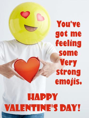 Emoji Funny Valentines Day Card Birthday Greeting Cards By Davia