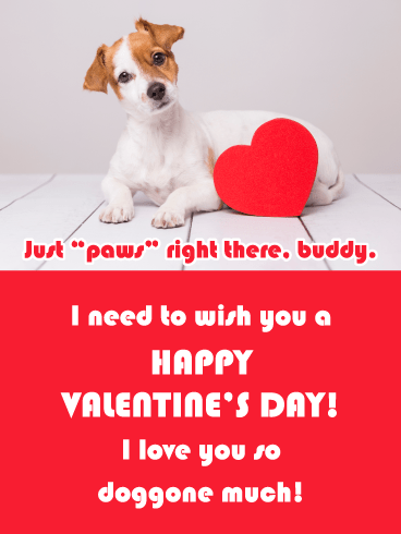 """Just """"paws"""" right there, buddy. I need to wish you a   HAPPY VALENTINE'S DAY! I love you so doggone much!"""