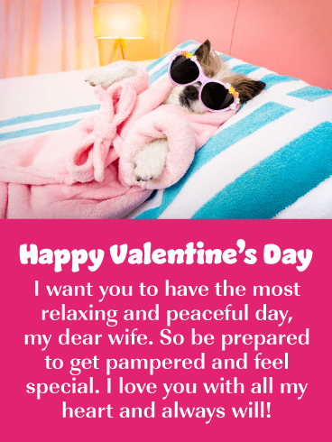 A Day to Be Pampered! Happy Valentine's Day Card for Wife