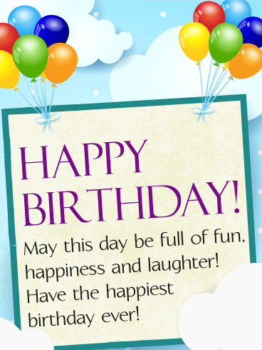 Cheerful Happy Birthday Wish in the Sky Card