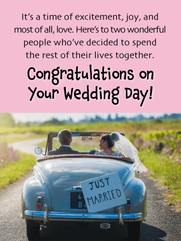 Vintage Car Wedding-Happy Wedding Card