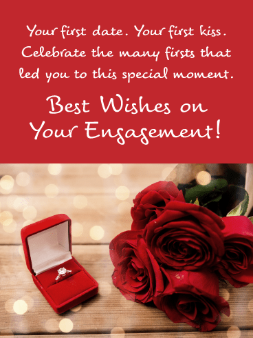 Radiant Red Roses-Engagement Card