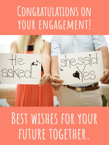 She Said Yes- Happy Engagement Card