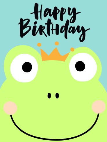 Smiley Frog Happy Birthday Card for Kids