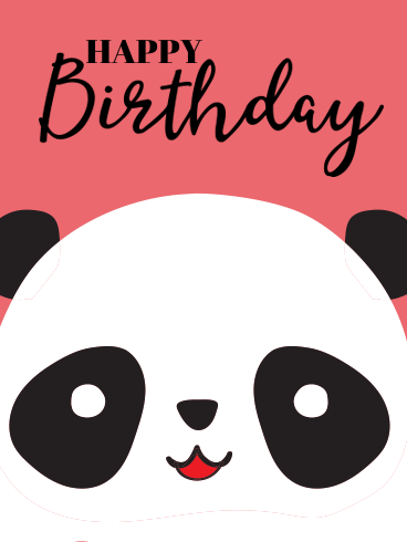 Cute Panda Happy Birthday Card For Kids