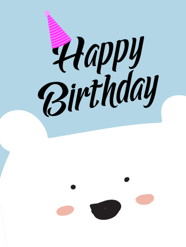 White Cute Bear Happy Birthday Card for Kids