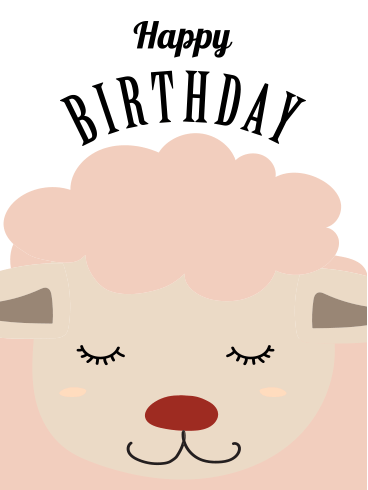 Cute Sheep Happy Birthday Card for Kids
