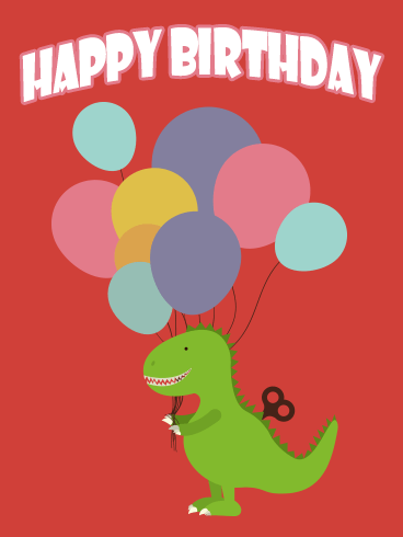 Cute Dinosaur Happy Birthday Balloon Card for Kids