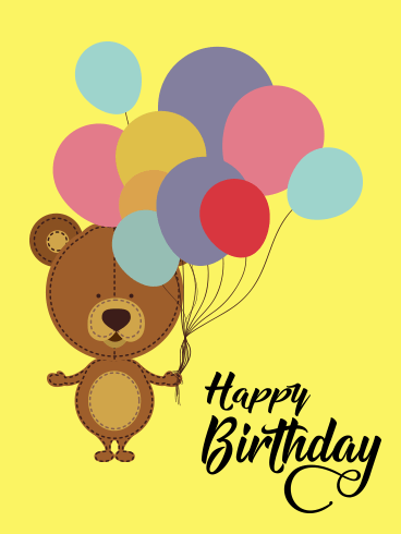 Cute Bear Happy Birthday Balloon Card for Kids
