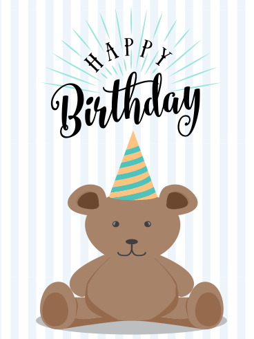 Cute Bear Happy Birthday Card for Kids
