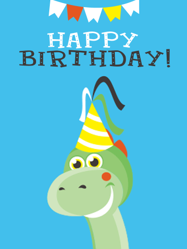 Dinosaur Happy Birthday Party Card for Kids