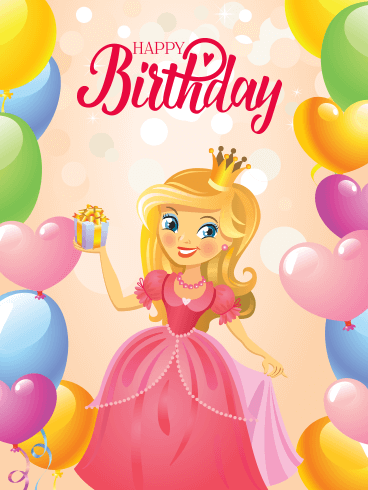 Princess Happy Birthday Card for Kids
