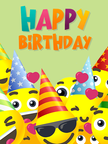 Smiley Face Birthday Party Card for Kids