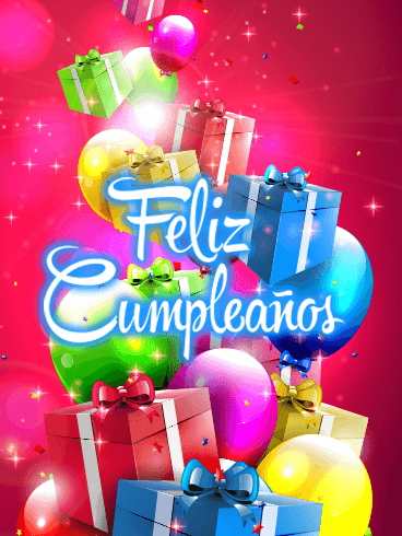 Happy Birthday Balloon & Gift Box Card in Spanish - Feliz Cumpleaños
