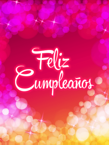 Pink Happy Birthday Card in Spanish - Feliz Cumpleaños