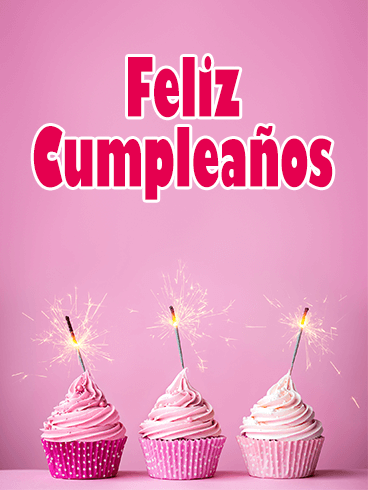 Pink Happy Birthday Cupcake Card in Spanish - Feliz Cumpleaños