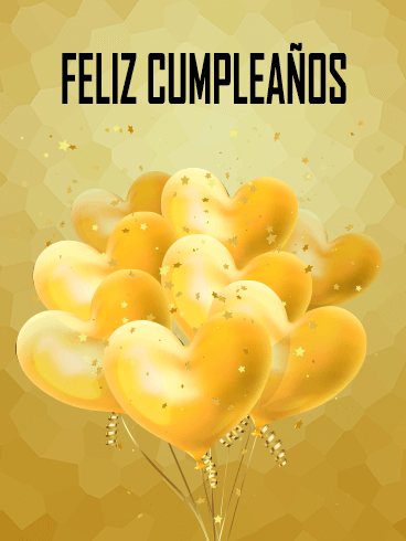Golden Happy Birthday Balloon Card in Spanish - Feliz Cumpleaños