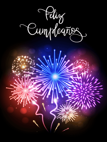 Colorful Happy Birthday Fireworks Card in Spanish - Feliz Cumpleaños