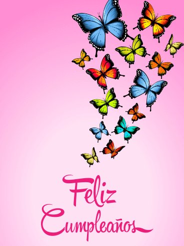 Butterfly Happy Birthday Card in Spanish - Feliz Cumpleaños
