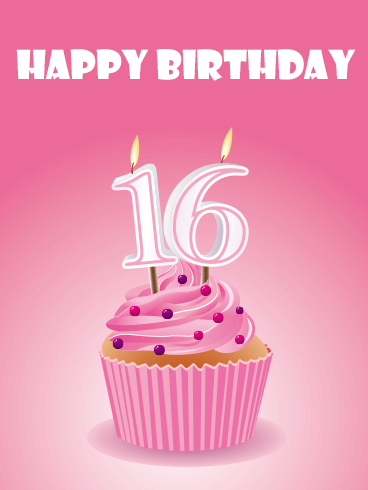Pink Happy 16th Birthday Cupcake Card