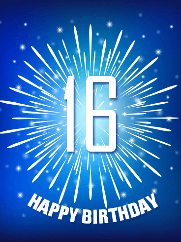 Blue Happy 16th Birthday Fireworks Card