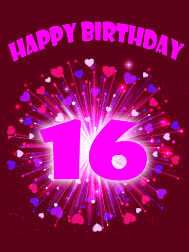 Pink Happy 16th Birthday Card