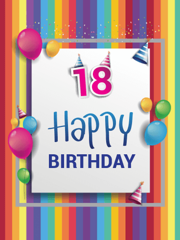 Colorful Happy 18th Birthday Card