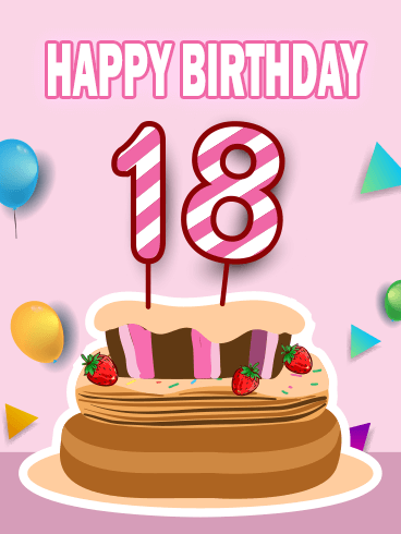 Super Happy 18Th Birthday Cake Card Birthday Greeting Cards By Davia Funny Birthday Cards Online Fluifree Goldxyz