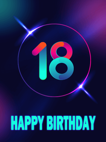 Blue Happy 18th Birthday Card