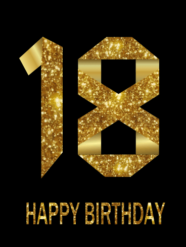 Golden Happy 18th Birthday Card