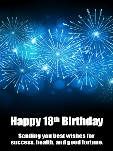 Blue Happy 18th Birthday Fireworks Card