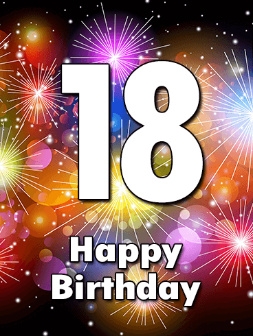 Colorful Happy 18th Birthday Fireworks Card