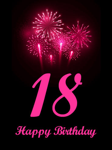 Pink Happy 18th Birthday Fireworks Card